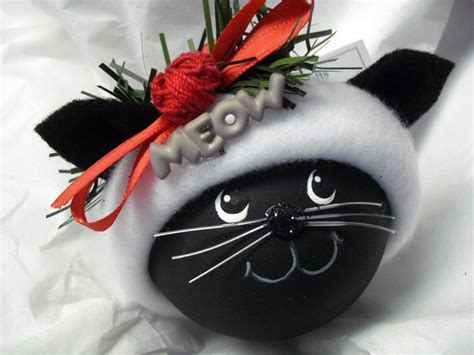 black cat christmas ornament hand painted by