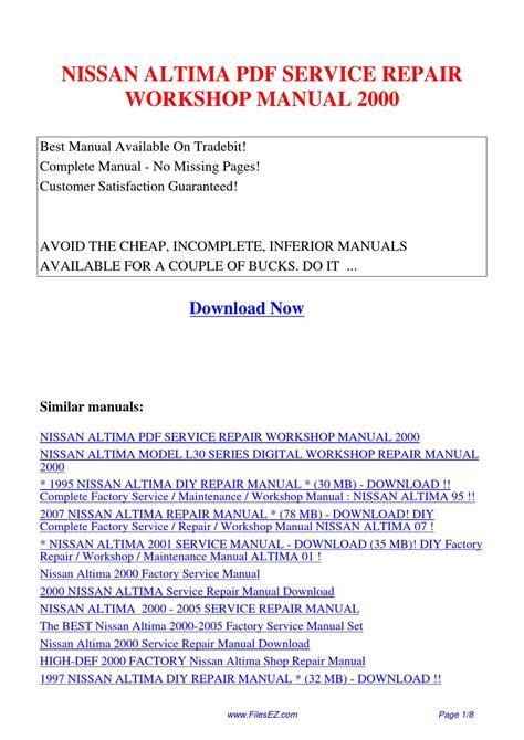 Nissan Altima Service Repair Workshop Manual 2000 By Yang