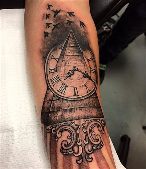 tattoo design service pyramid with clock pyramidtattoo clocktattoo
