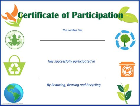 certificate of recycling template eco earth day certificates earth day activities