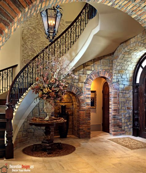 custom home design ideas and tips decor tips arched doorway and stone wall with metal stair