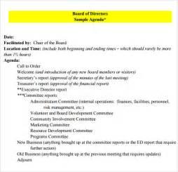 nonprofit board meeting agenda template board meeting agenda 9 free sles exles format