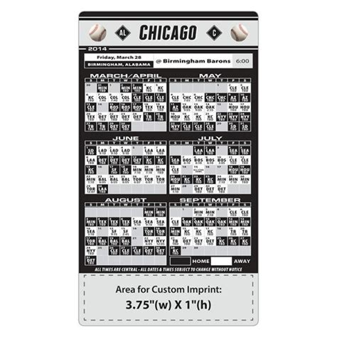 chicago white sox baseball team schedule magnets 4 quot x 7