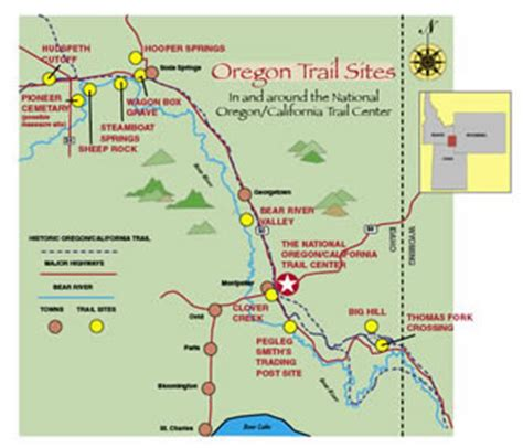 map of oregon landmarks detailed map of oregon trail