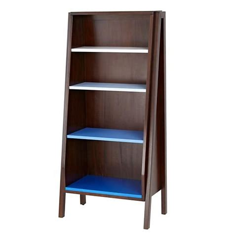land of nod bankable bookcase graduated bookcase blue shelves