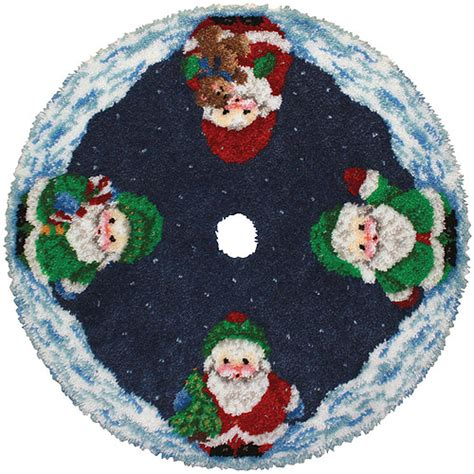 latch hook christmas tree skirt kits latch hook kit roly poly santa tree skirt walmart