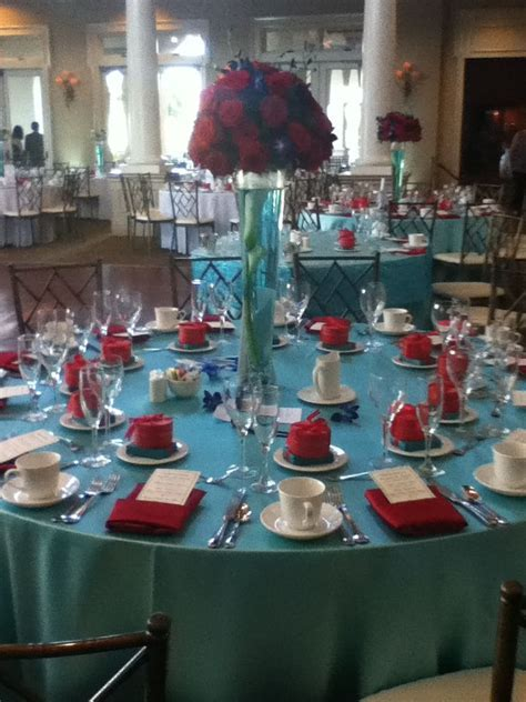 Teal and red wedding table arrangements   Wedding and