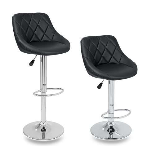 Leather Breakfast Bar Stools by Tresko 174 2 X Bar Stools Faux Leather Swivel Kitchen Lounge