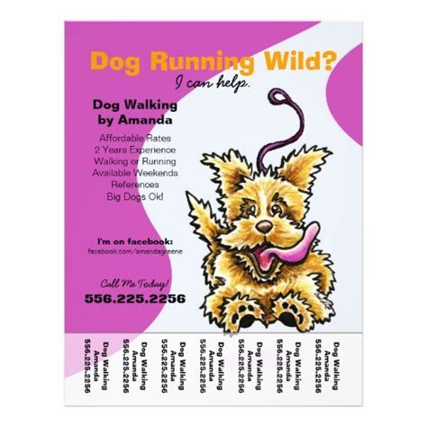 dog walker walking leashed terrier tear sheet flyer zazzle