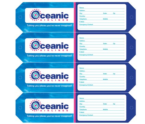 wackychimp oceanic airlines luggage tags