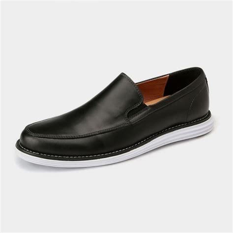 herilios minimalistic leather slip on black loafers with