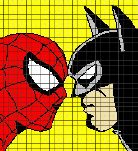 spiderman loom pattern spiderman vs batman chart graph and row by row written