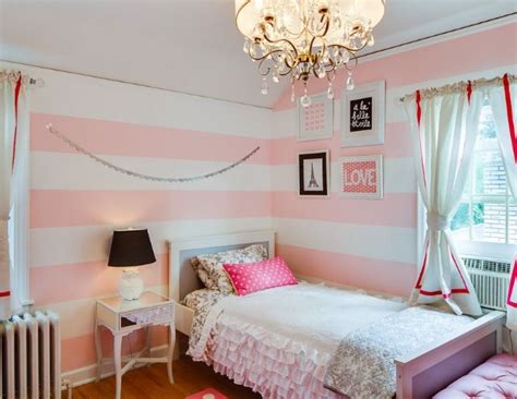 White And Pink Striped Wall Contemporary Bedroom | pink white striped walls girls bedroom for the home