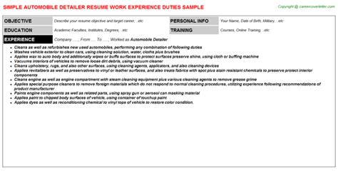 Auto Detailer Resume by Automobile Detailer Resume Sle