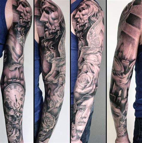 quarter sleeve angel tattoo top 100 best sleeve tattoos for men cool designs and ideas