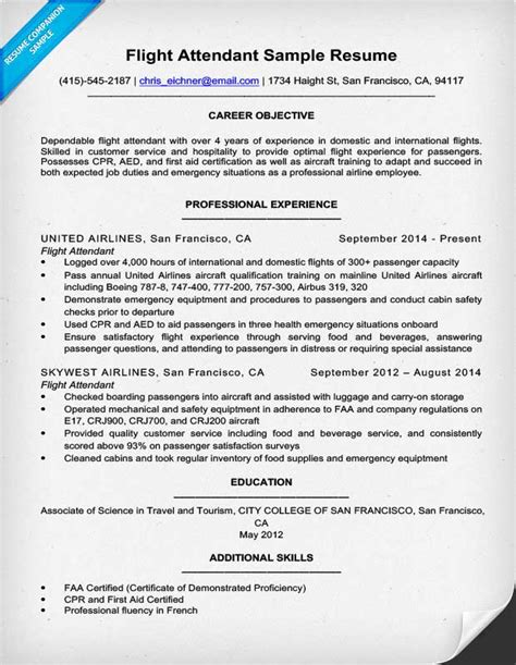 Flight Attendant Resume Objective by Flight Attendant Resume Sle Writing Tips Resume