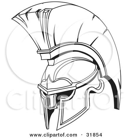 clipart 3d silver trojan spartan helmet with a red mohawk
