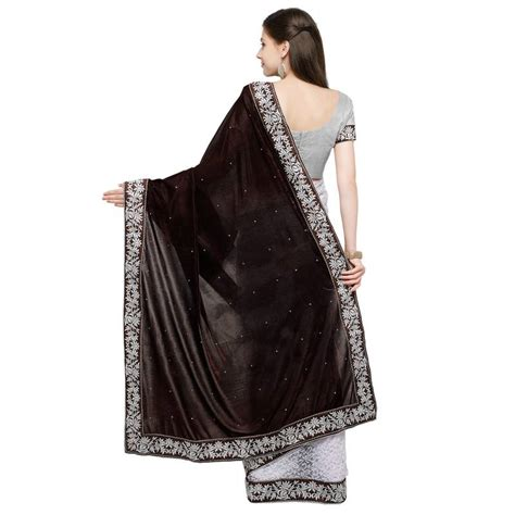 Plain Velvet Blouse buy brown plain velvet saree with blouse