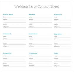 Contact Sheet Template by Sle Contact Sheet 5 Documents In Pdf