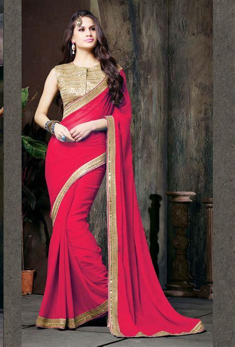 red chiffon saree  blouse  fancy sarees