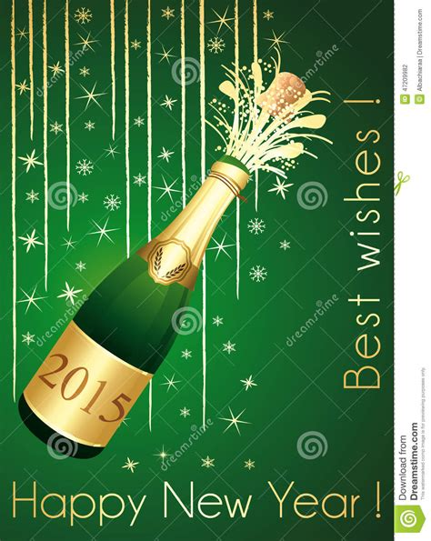 new year greeting gold green and gold chaign greeting card stock vector