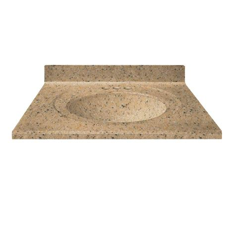 us marble 31 in cultured granite vanity top in spice color with integral backsplash and spice