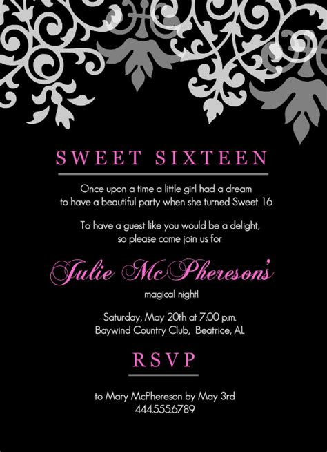 16th Birthday Invitations Templates sweet 16th birthday invitations templates free printable