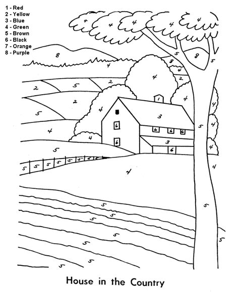 country house coloring pages kids page easy house in the country color by number