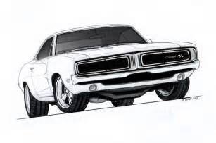 Dodge Charger Drawing 1969 Dodge Charger R T Pro Touring Drawing By