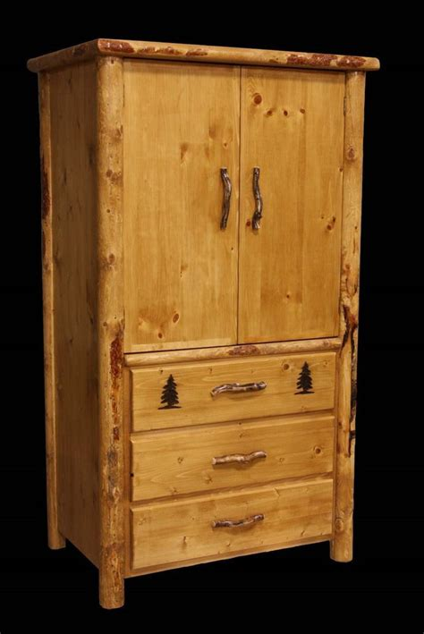cabin bedroom furniture rustic armoire 3 drawer country western cabin log