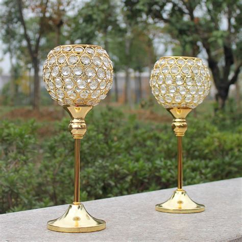 Candlestick Holder Centerpieces New 2pcs Metal Gold Plated Candle Holder With Crystals