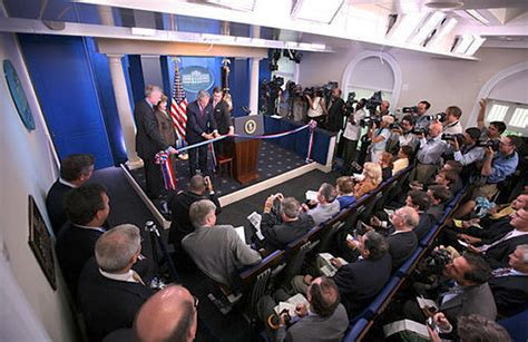press room inside the white house abode