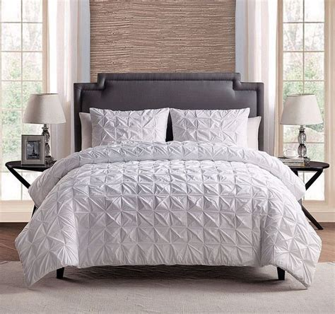 piece  cotton solid white pinch pleat comforter set king cal king size comforters