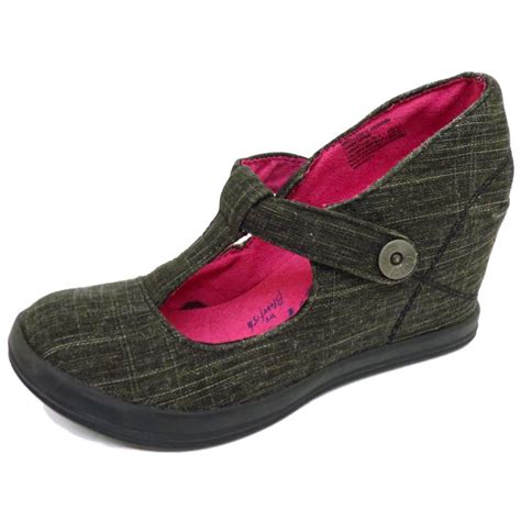 blowfish black canvas wedges t bar ankle strappy