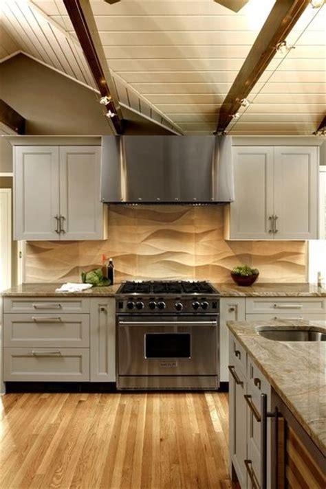 love  backsplash  sculpted limestone tile backsplashs wave  design lends wonderful movement home ideas kitchen pinterest