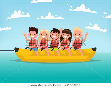 banana boat ride cartoon banana ride stock images royalty free images vectors