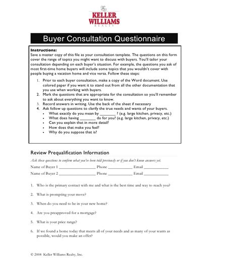 Template For Independent Contractor Agreement buyer consultation questionnaire