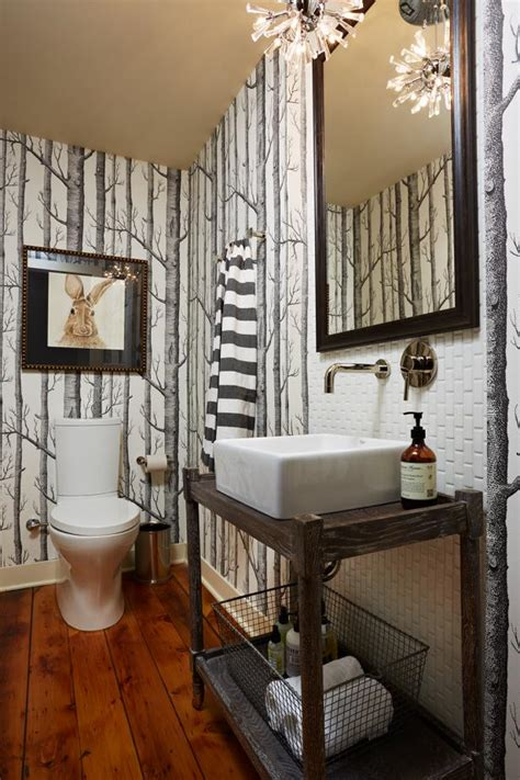 stylish black white bathroom features tree print