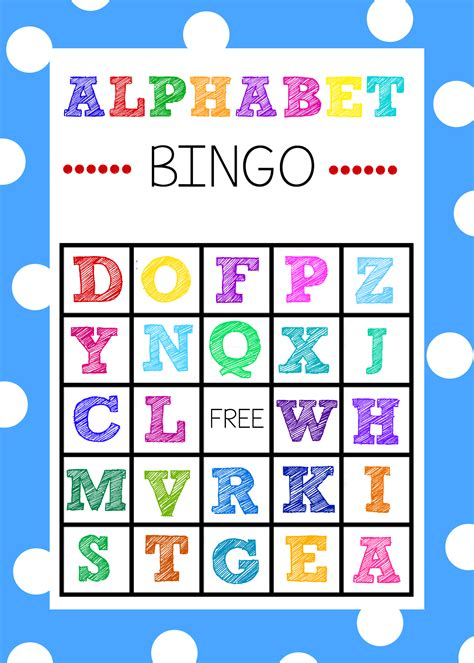 printable board games for kindergarten free printable alphabet bingo game