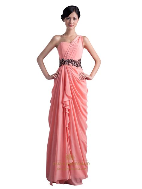 draped prom dress coral one shoulder side draped chiffon prom dress with