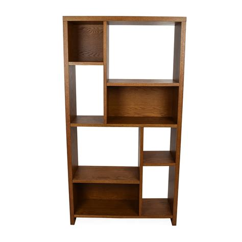 33 crate barrel wood leaning bookshelf bar storage