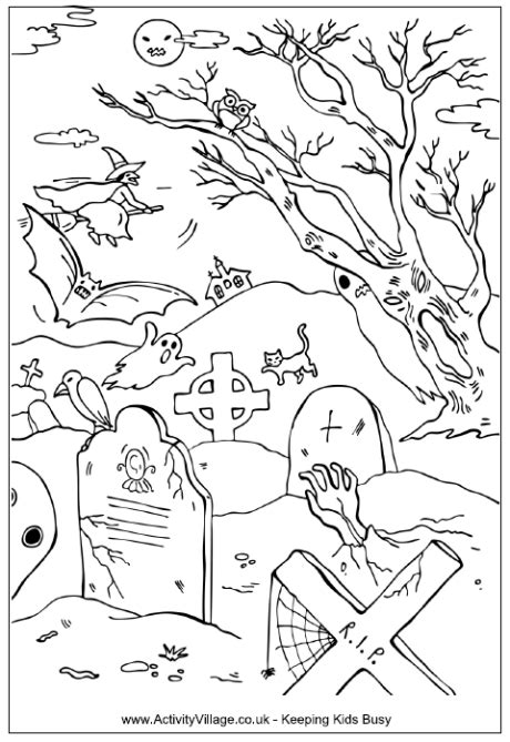 halloween coloring pages activity village halloween graveyard colouring page