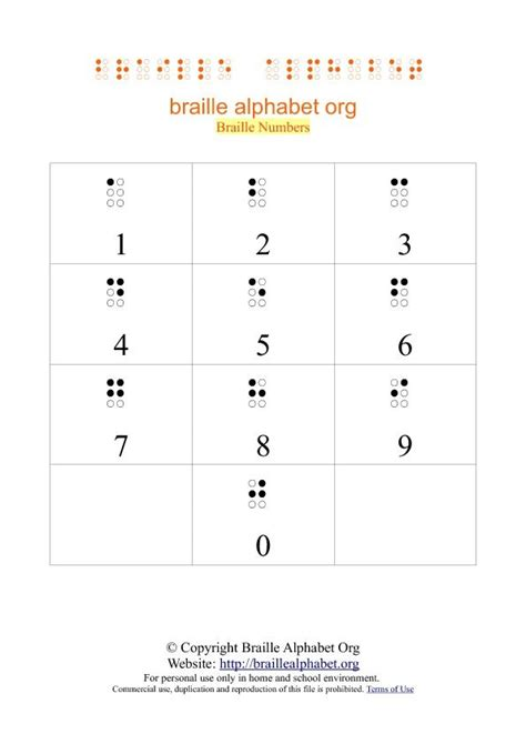 braille number chart printable  number chart braille braille alphabet