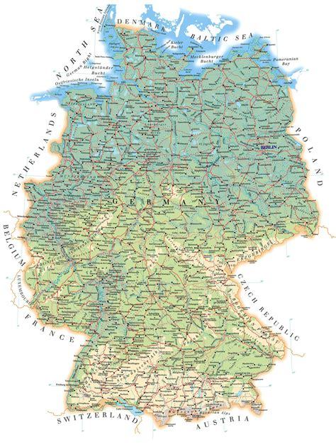 germany map printable large detailed road map of germany with all cities