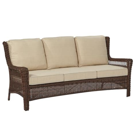 outdoor settee hton bay park meadows brown wicker outdoor sofa with