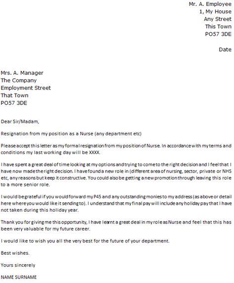 nurse resignation letter icoverorguk