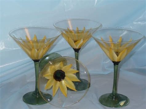 martini glass painting hand painted set of 4 martini glasses with sunflower
