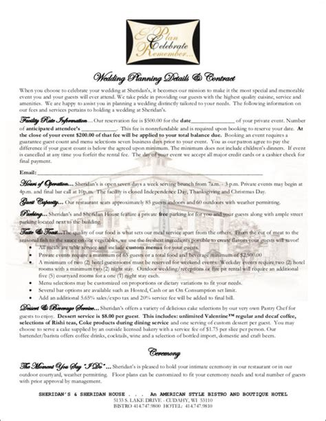 10 Wedding Contract Sles Templates Sle Templates Wedding Planner Contract Template