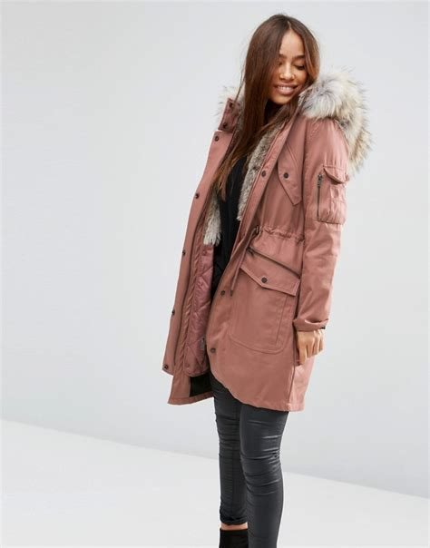 Siren Parka Dusty Pink asos parka with detachable faux fur liner dusty pink in pink lyst
