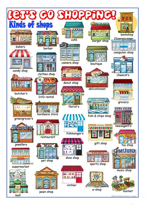 shops in my town worksheet free esl printable worksheets shopping worksheet free esl printable worksheets made by